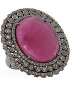 Bavna Oval Composite Ruby & Diamond Pave Ring - Lyst