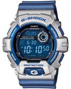 G-shock Mens Digital Blue Resin Strap Watch 55x53mm 8 - Lyst