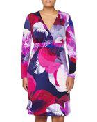 Melissa Masse Printed Long-Sleeve Dress, Fuchsia - Lyst