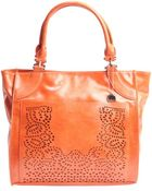 Big Buddha Orange Faux Leather Laser-Cut Detail 'Violet' Tote - Lyst