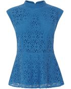 Oasis High Neck Lace Daisy Peplum To - Lyst