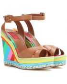 Valentino Color-Blocked Leather Wedges - Lyst