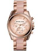 Michael Kors Women'S Chronograph Blair Blush And Rose Gold-Tone Stainless Steel Bracelet Watch 39Mm Mk5943 - Lyst