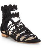 Loeffler Randall Dixie Suede Cutout Sandals - Lyst