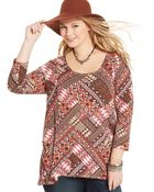 American Rag Plus Size Patchwork-Print Pocketed Tunic - Lyst