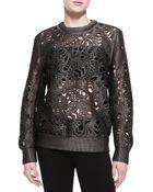 Alexander Wang Laser-Cut Oversized Crewneck Sweater - Lyst