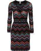 M Missoni Wrap-Effect Chevron-Knit Dress - Lyst
