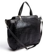 Kelsi Dagger Black Metallic Leather And Fabric 'Flatbush' Convertible Tote - Lyst