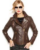 Michael Kors Michael Leather Moto Jacket - Lyst