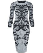 Alexander McQueen Black And White Lace Jacquard Pencil Dress - Lyst