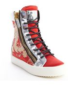 Giuseppe Zanotti Red Dragon Embroidered Satin And Silver Leather High Top Sneakers - Lyst