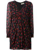 Saint Laurent Gathered Cherry-Print Dress - Lyst