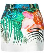 Roberto Cavalli Tropical Print Mini Skirt - Lyst