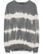 Zara Striped Tie-Dye Sweater - Lyst