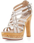 Frye Kara Strappy Mixed-Platform Sandal - Lyst