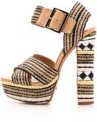 Schutz Erminiana Woven Platform Sandals - Preto/Natural/Light Wood - Lyst