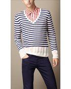 Burberry Linen Silk Striped Sweater - Lyst