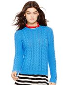 Ralph Lauren Aran-Knit Crewneck Sweater - Lyst