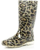River Island Brown Leopard Print Wellies - Lyst