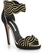 Oscar de la Renta Melinda Suede & Metallic Leather Sandals - Lyst