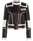 Balmain Bi-Color Leather Jacket - Lyst