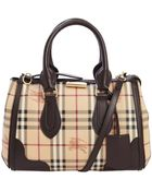 Burberry Pre-Owned: Chocolate Coated Canvas Small 'Haymarket Check Gladstone' Tote Bag - Lyst