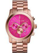 Michael Kors Womens Chronograph Runway Rose Goldtone Stainless Steel Bracelet Watch 45mm - Lyst