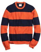 Brooks Brothers Bold Stripe Crewneck Sweater - Lyst