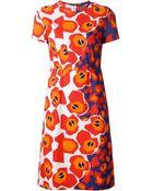 Jil Sander Navy Graphic Floral Print Dress - Lyst