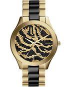 Michael Kors Ladies Gold Tone Slim Runway Watch With Zebra Dial - Lyst