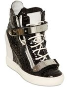 Giuseppe Zanotti 90Mm Patent Leather Wedge Sneakers - Lyst