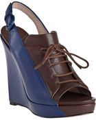 10 Crosby Derek Lam Gi Slingback Wedge Navy Leather - Lyst