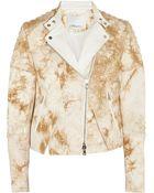 3.1 Phillip Lim Leather-Trimmed Denim Jacket - Lyst