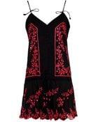Juliet Dunn Embroidered Cotton Mini Dress - Lyst