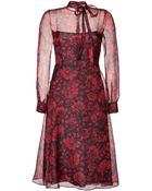 Valentino Silk Organza Floral Print Dress In Black/Red - Lyst