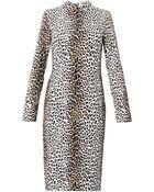 Rika Collared Leopard Print Dress - Lyst