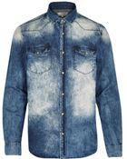 River Island Blue Acid Wash Denim Shirt - Lyst