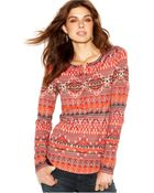 Lucky Brand Jeans Lucky Brand Crew-Neck Tribal-Print Thermal Henley - Lyst
