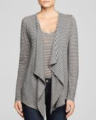 Majestic Striped Drape Cardigan - Lyst