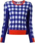 Sonia By Sonia Rykiel Check Pattern Contrasting Panels Sweater - Lyst