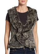 Saks Fifth Avenue Black Label Knitted Rabbit Fur Vest - Lyst