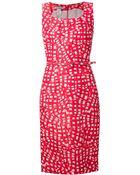 Oscar de la Renta Abstract Print Belted Dress - Lyst