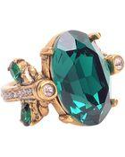 Oscar de la Renta Emerald Swarovski Crystal Ring - Lyst