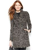 Vince Camuto Leopard-Print Double-Breasted Walker Coat - Lyst