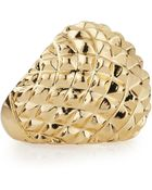 Kenneth Jay Lane Adjustable Golden Pyramid Spike Ring - Lyst