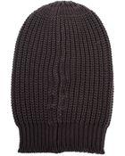 Rick Owens Ribbed Wool Beanie Hat - Lyst