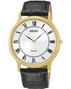 Seiko Men'S Solar Black Leather Strap Watch 38Mm Sup878 - Lyst