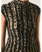 Roberto Cavalli Leopard Print Striped Dress - Lyst
