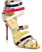 Christian Louboutin Marniere Strappy Python Sandals - Lyst