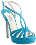 Prada Blue Suede Strappy Heel Platform Sandals - Lyst
